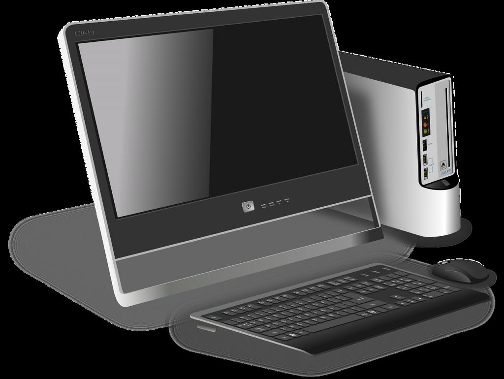 ordinateur, bureau, moderne